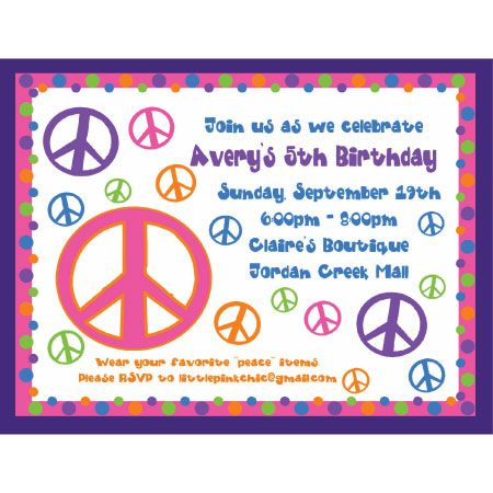 Peace Sign Birthday Invitation
