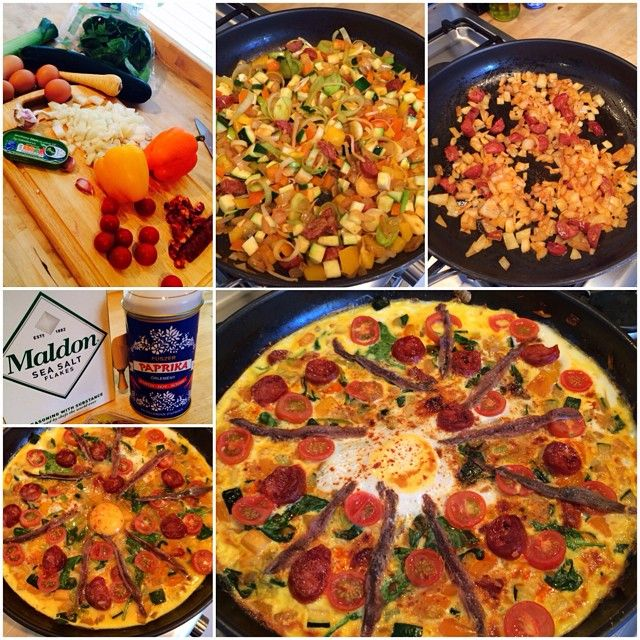 MASSIVE frittata made - a little EVOO to soften onion garlic chorizo diced parsnip diced orange and yellow peppers courgette leek wilted spinach. I added some saffron and hot paprika all the way from Budapest. Topped with 6 beaten eggs some more ripped spinach slices of cherry tomatoes and chorizo with a whole egg cracked on top. Then anchovies and a sprinkle of hot paprika and sea salt. Will be serving with salad and crumbled feta cheese. #paleo #primal #jerf #justeatrealfood #frittat...