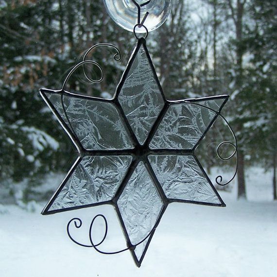 Stained glass sun catcher snowflake winter by AcornArtsStudio, $17.00