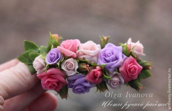 Купить Зажим для свадебной прически. - розовый, розы, заколка с цветами, заколка с розами, зажим для волос
