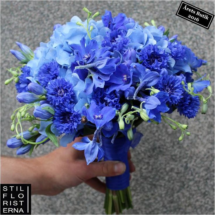 Helt naturligt blå brudbukett