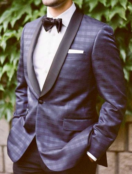 4e534cff706 Be the very best dressed at the wedding wearing this gorgeous blue tuxedo  jacket with subtle windowpane over black pants. Contact Giorgenti New York  and we ...