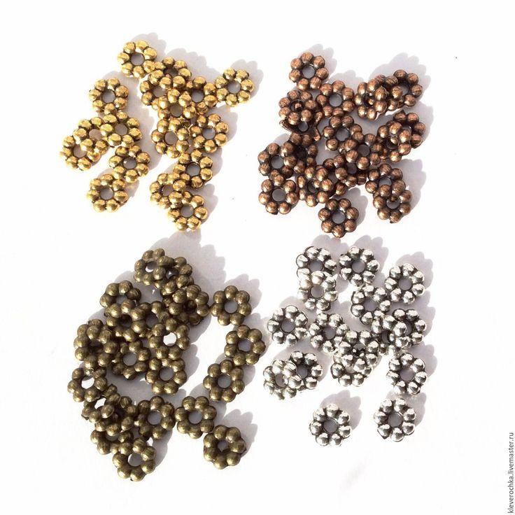 Купить 20 шт/ Бусины 5,5 мм 4 цвета спейсеры металл для украшений