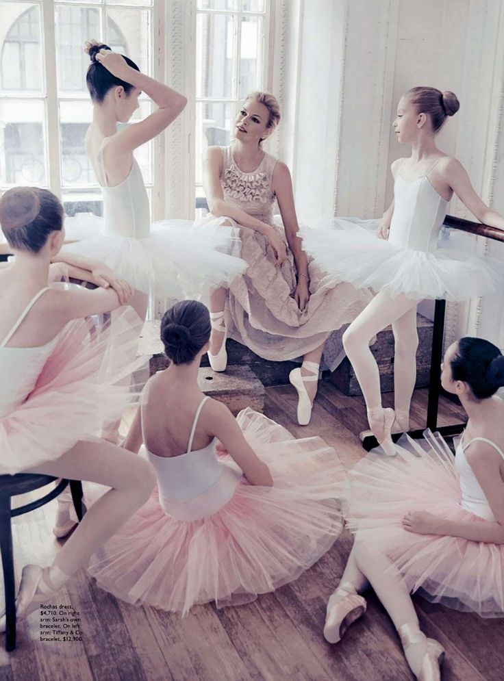 "Sarah Murdoch with ballet class. Photograph by Steven Chee for Vogue Australia, August 2014. ""Rocha dress, $4,710. On right arm, Sarah's own bracelet. On left arm, Tiffany & Co. bracelet, $12,900."" Murdoch was appointed International Ambassador of the Australian Ballet Company in 2004 and joined The Australian Ballet Board of Directors in 2006."