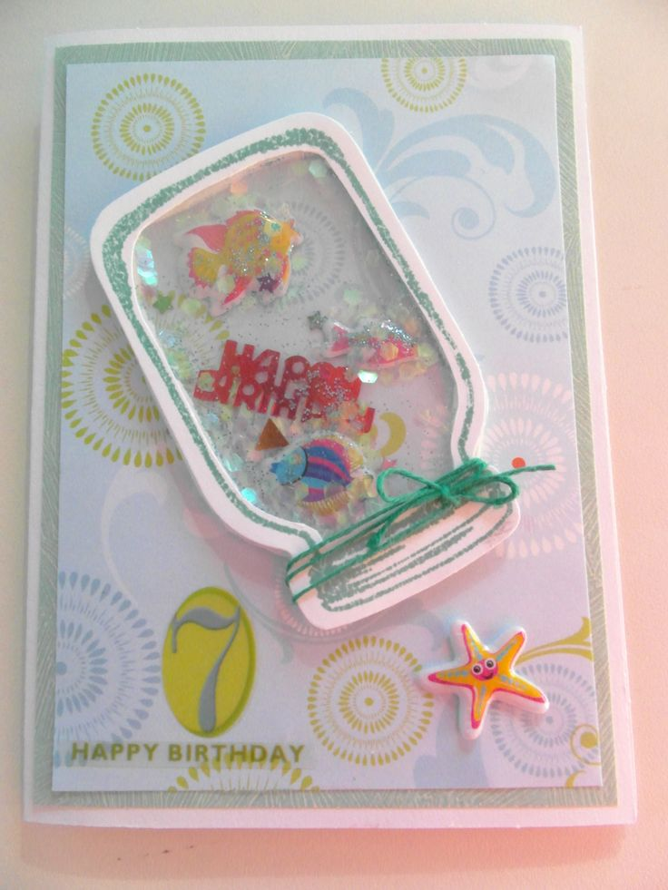 Mason Jar shaker card using puff stickers and glitter for a special grand-daughters birthday.
