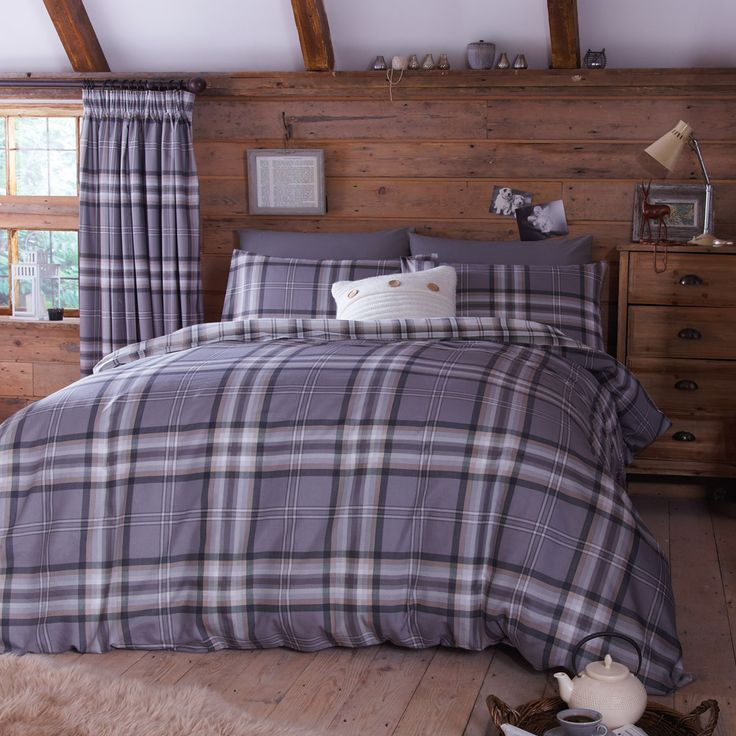 Charcoal Kelso Tartan Double Duvet Cover .It Is Made From A Soft Cotton  Rich Polyester