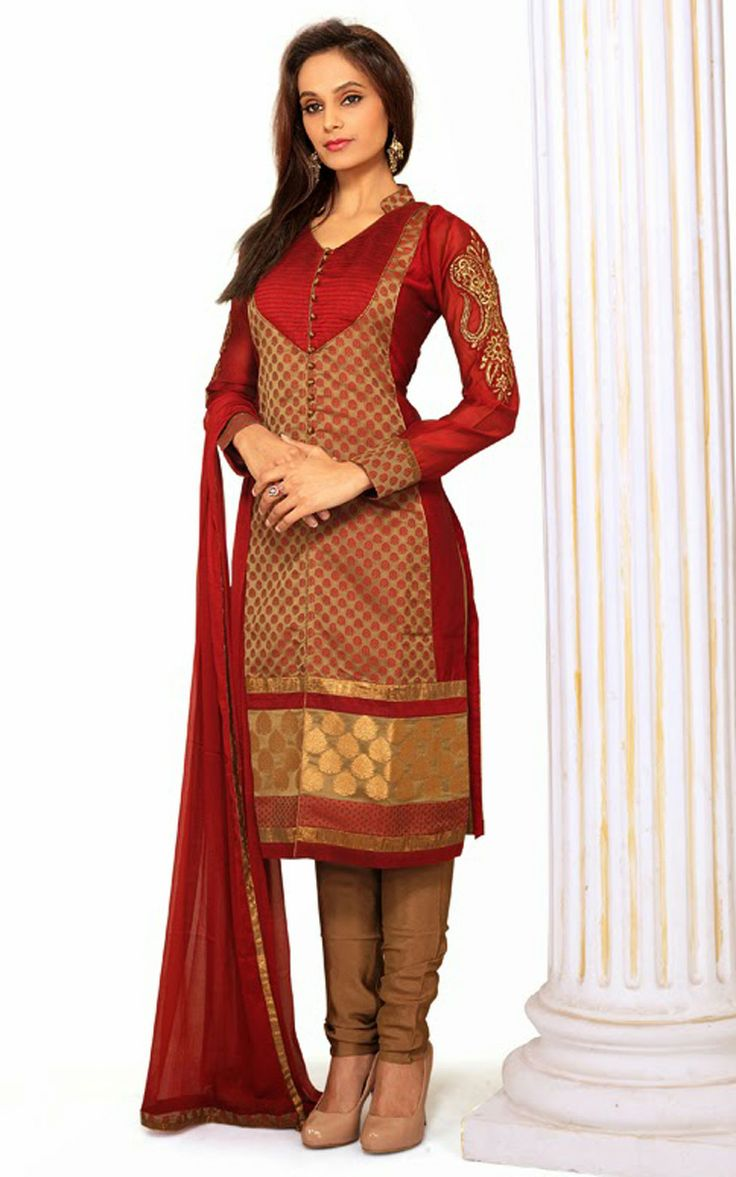RED & BROWN CHANDERI COTTON SALWAR KAMEEZ - DIF 29720