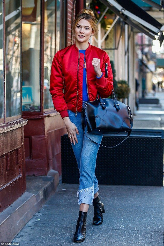 Stand out in a bright red bomber jacket by Unravel. Click 'Visit' to buy now. #DailyMail