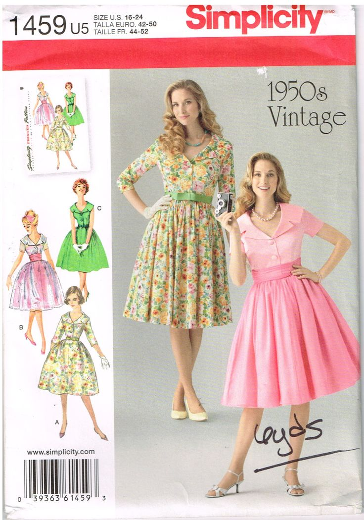 Free Shipping, Simplicity 1459, Women's Dress, 1950s Vintage, Size 16,18,20,22,24, Sewing Pattern, Plus Size by OhSewWorthIt on Etsy