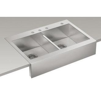 Vault™ Top Mount Double Basin Stainless Steel Sink With Shortened Apron Front  For Can Be Installed In A Standard Cabinet With A Laminate Counter