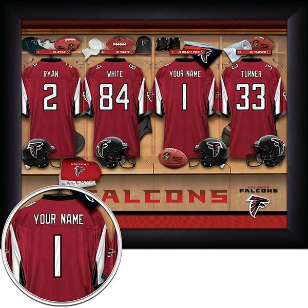 Atlanta Falcons NFL Football - Personalized Locker Room Print / Picture. Have you or someone you know ever dreamed about playing next to your favorite Atlanta Falcons players. You or someone you know can be right there in the locker room with Atlanta Falcons players! Optional framing with mat is available. Perfect for gifts, rec room, man cave, office, child's room, etc.  (http://www.oakhousesportsprints.com/atlanta-falcons-locker-room-print/)