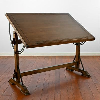 traditional drafting desk. When locked in the level position this would make a great looking island in a kitchen, or as a counter-height table. In the right room, I think this desk would make a great-looking easel to display a work of art!