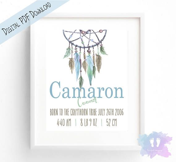 Boho Feather DreamCatcher Birth Announcement Wall Art  Birth