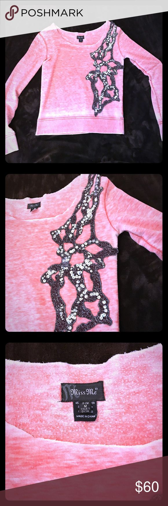 Miss Me slouchy l/s top SEE ALL PICS!! 😍😍 M This is a super cute and fun lounge/slouchy l/s top. Silver sequins accent this top. Color was a little hard to capture but it's a a very pretty peachy/coral almost pink color. Worn this top a handful of times, still in EXCELLENT condition... every Sequin intact. Smoke/pet free home. Miss Me Tops Sweatshirts & Hoodies