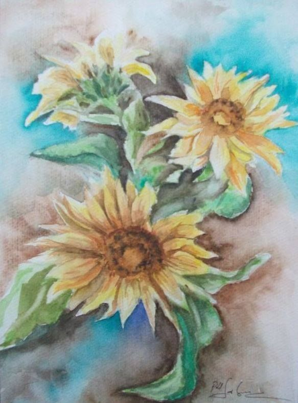 Sunflower , watercolor A4