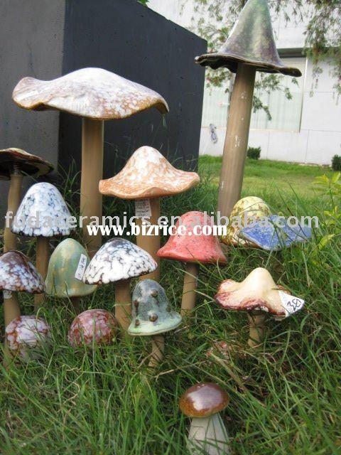 garden ceramic mushroom stake