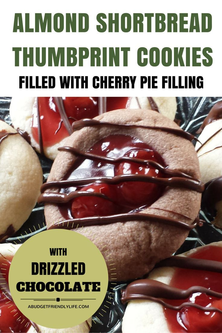 Almond Shortbread Thumbprint Cookie filled with Cherry Pie Filling and ...