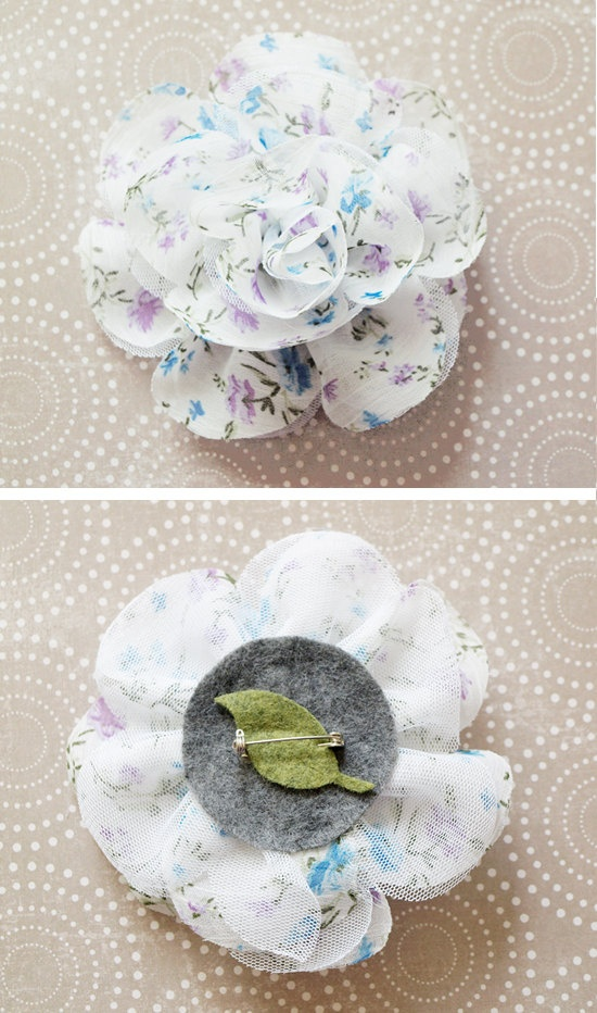 Fabric Flower Brooch -