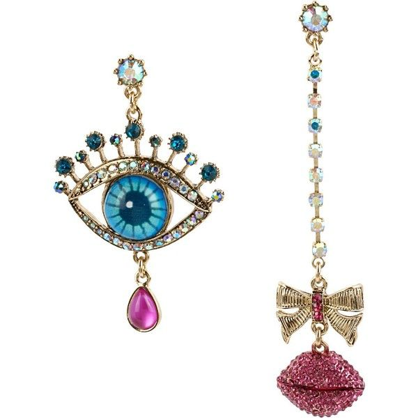 Betsey Johnson The Eyes Have It Mismatch Earring ($45) via Polyvore featuring jewelry, earrings, multi, new arrivals, betsey johnson jewelry, long post earrings, bow earrings, bow jewelry and chain jewelry