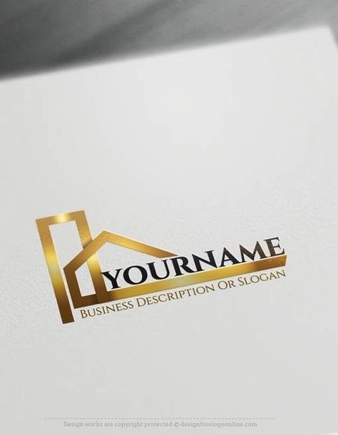 Create a Logo Free - Construction logo templates Readymade Construction logo templates decorated with an imageof modern house. This realtylogo images and Real Estate logotemplate are greatforArchitect, interior designer,Construction logos, Contractor, realtyAgency, Roofing Contractor, roof repairetc.How to design free logo online? 1- Customize This logo with our free logo maker tool -Change your company name, slogan,