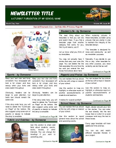 Flexible front page for preschool on up Try this 11 - newsletter template for word