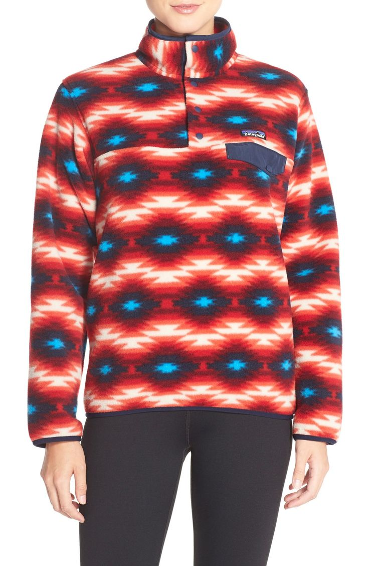 Brightening grey days in this wonderfully soft fleece pullover with a wild desert pattern by Patagonia.