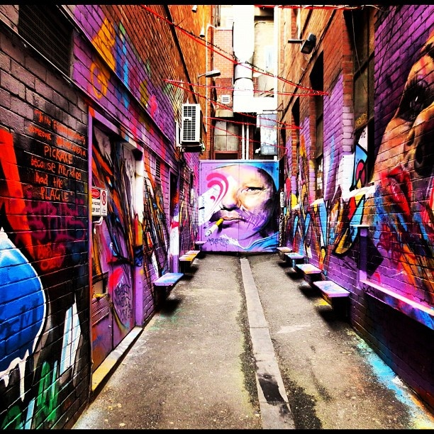 Another striking lane way in Melbourne. Loving the colour and imagery.... #Padgram
