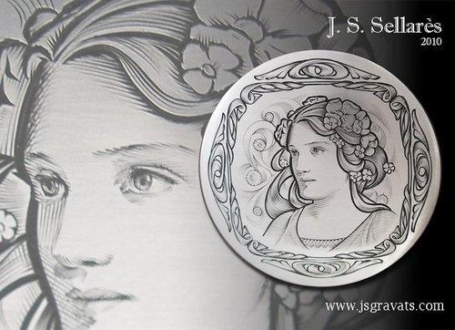 J. S. Sellares hand engraving