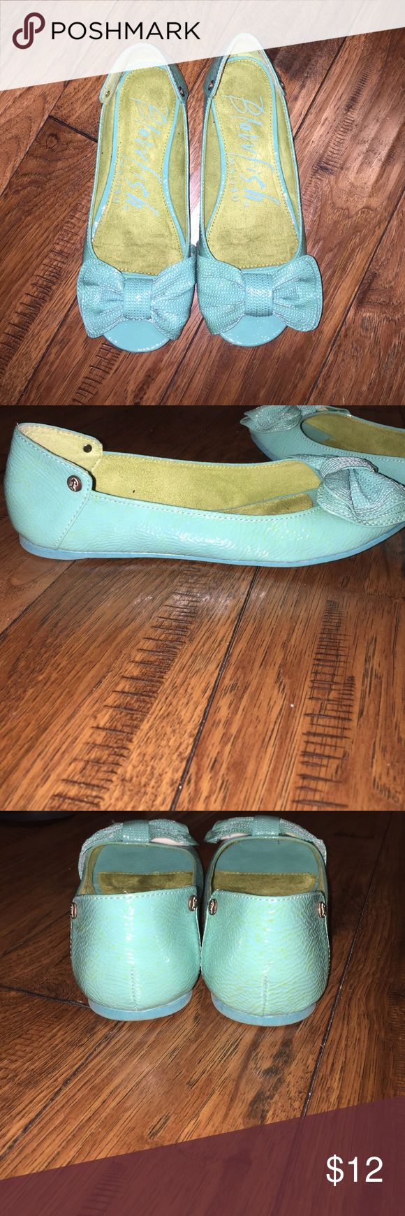 WORN ONCE. Blowfish peep toe flat. WORN ONLY ONCE. Size 7. Peep toe flat. Blowfish. Teal blue. Blowfish Shoes Flats & Loafers