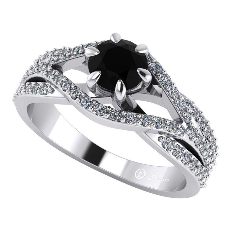 Inel de logodna din aur alb cu diamant negru si diamante ES119