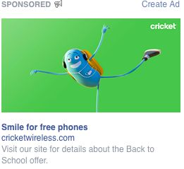 This adorable and chipper cricket on annoying Facebook ads for Cricket Wireless