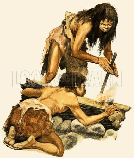 The Stone Age People. A Stone Age mother and child making a fire. Original artwork from Treasure no. 1 (19 January 1963).