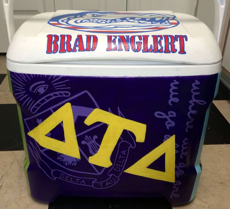 """Delta tau delta crest """"where we go one we go all"""" hand painted fraternity formal cooler UF American Gators by Emily Perry"""