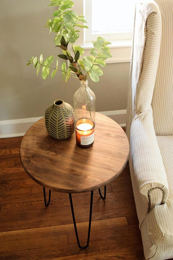Round Wooden End Table With Hairpin Legs Side Table Decor