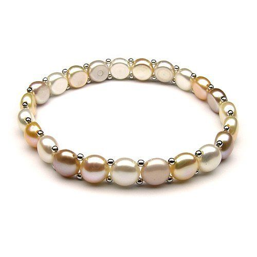 Multicolored Button Freshwater Pearl Stretch Bracelet with Sterling Silver Beads ThePearlExchange. $35.00. AAA Pearl Quality. 8-8.5mm. Nautral lavender; pink; and white Freshwater Pearls. Stretchable bracelet fits most of wrist sizes, 5-7 inches. Sterling Silver Phodium Plated bead. High luster pearls