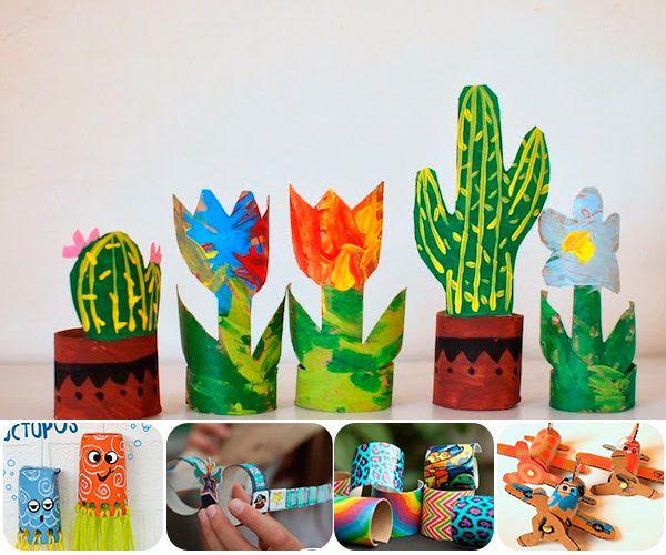 5 manualidades con rollos de papel higiénico. Divertidas manualidades recicladas para hacer con niños: aviones, pulseras, gafas, pulpos, plantas...