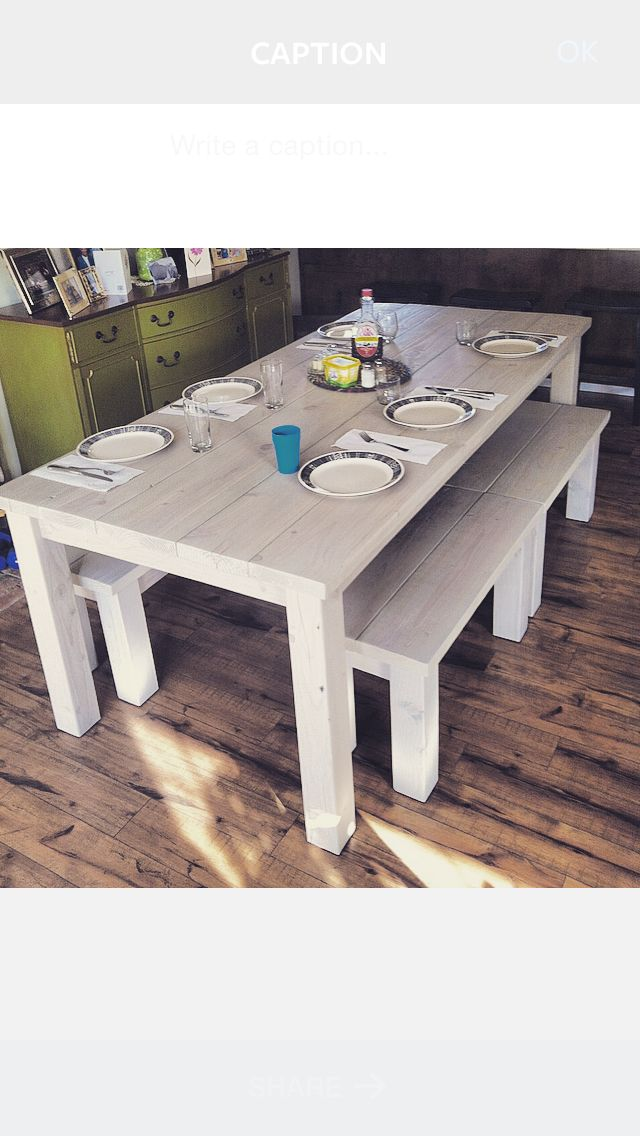 Custom Built Farm Table U0026 4 Matching Benches Stained In Varathane  Sunbleached.