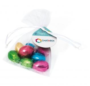 Promotional Organza bag filled with foil wrapped mini chocolate Easter eggs