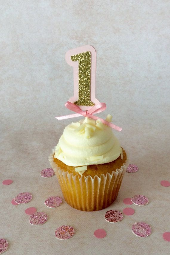 Pink Number Cupcake Topper 12 Ct., Pink and Gold Birthday decoration.