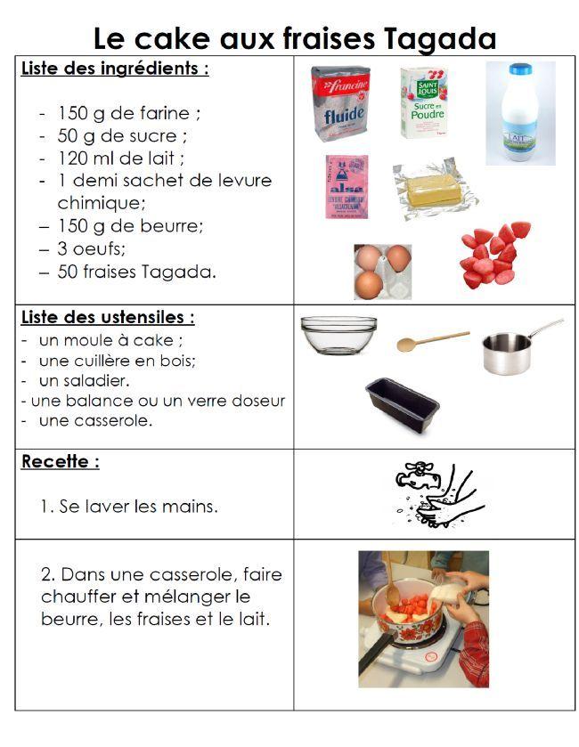 Site internet de l'école maternelle Danielle Casanova - Cake aux fraises Tagada