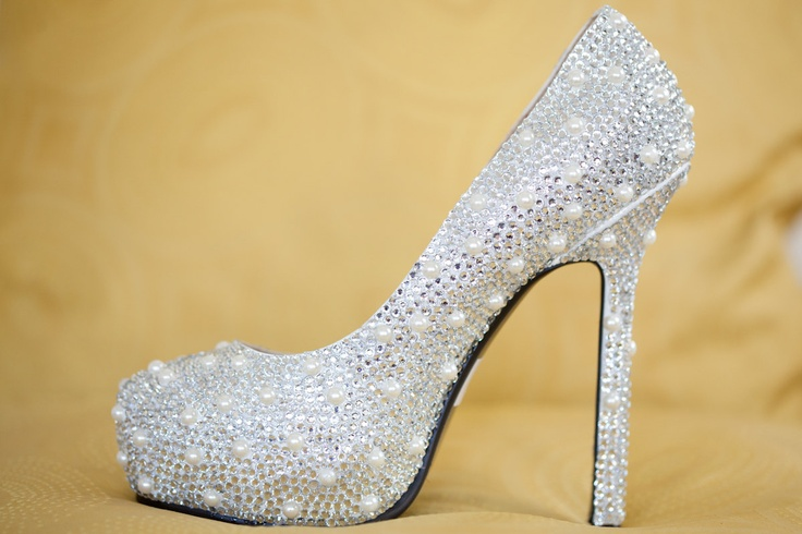 OHHHH! Wedding Shoes with Swarovski Crystals and Pearls. $275.00, via Etsy.