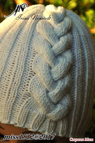 """""""Эмилия"""" - шапочка с обьёмной косой, спицы. Краткое описание"""