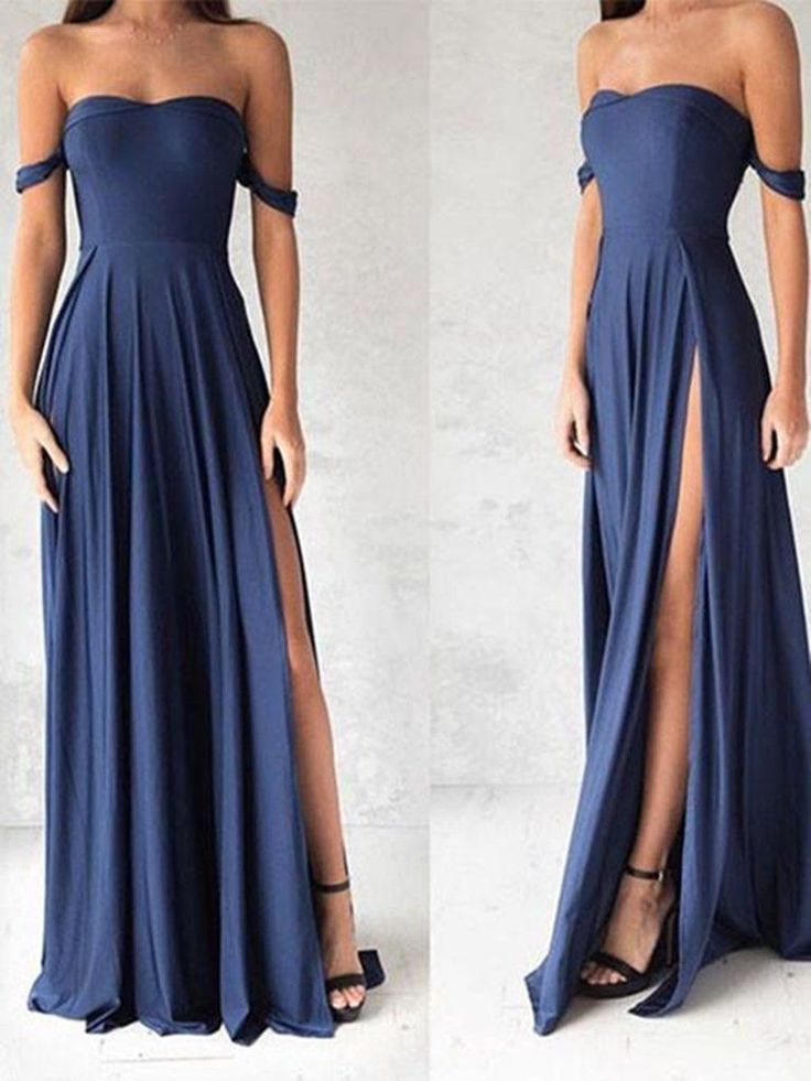 Sweetheart Neck Off Shoulder Blue Chiffon Prom Dress, Blue Bridesmaid Dress from Show Fashion