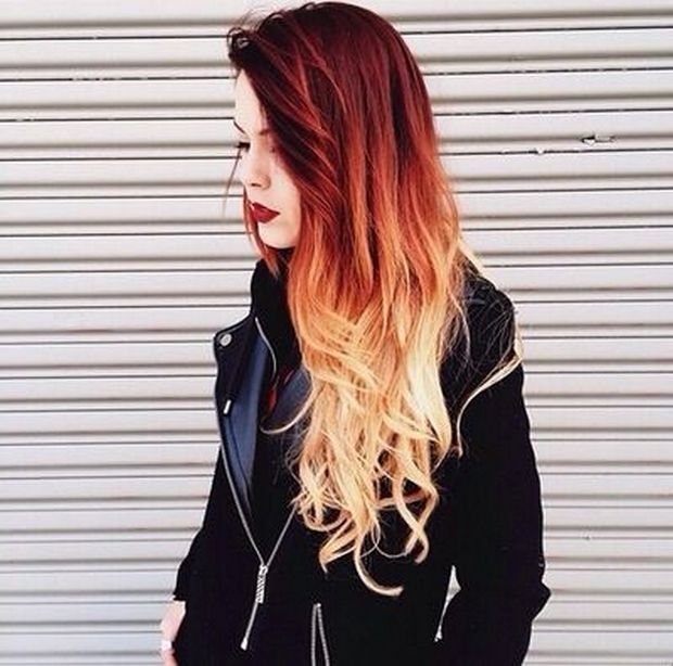 Image result for ombre hair red to blonde