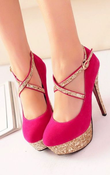 Elegant pink and gold heels