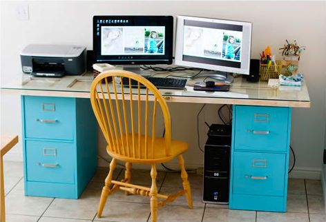 An old door situated on top of filing cabinets makes for a fun desk.