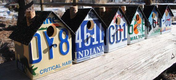 Custom Made  State License Plate Birdhouse door barefootbirdhouses, $26.00