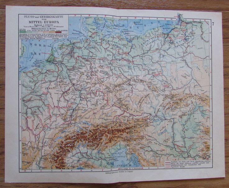 Fluss und Gebirgskarte von Mitteleuropa - alte Landkarte Karte old map 1928 1