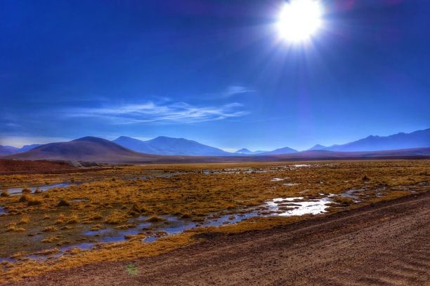 On the way back of visiting the Tatio Geysers early in the morning, north of San Pedro de Atacama. Driving over the gravel road on the Chilean Antiplano. A trip well worth it... Discovered by Crienoloog at Antiplano Chile near San Pedro de Atacama, San Pedro de Atacama, Chile