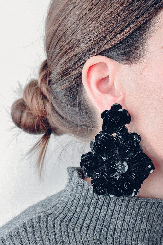 Vintage Black Sequin Floral Pierced Earrings from Sweet & Spark.